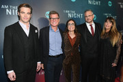 """(L-R) Chris Pine,  President, TNT & TBS and Chief Content Officer Kevin Reilly, EVP, Original Programming TNT Sarah Aubrey, showrunner Sam Sheridan, and showrunner Patty Jenkins attend the """"I Am the Night"""" Premiere at Metrograph on January 22, 2019 in New York City. 484171"""
