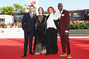 Sam Claflin, Aisling Franciosi, Jennifer Kent and Baykali Ganambarr walk the red carpet ahead of the 'The Nightingale' screening during the 75th Venice Film Festival at Sala Grande on September 6, 2018 in Venice, Italy.