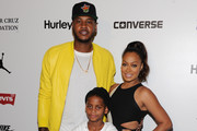 TV personality Lala Anthony, New York Knicks Carmelo Anthony and son Kiyan Anthony attend the Nike/Levi's Kids Rock! fashion show during Spring 2016 New York Fashion Week at the The Dock, Skylight at Moynihan Station on September 10, 2015 in New York City.
