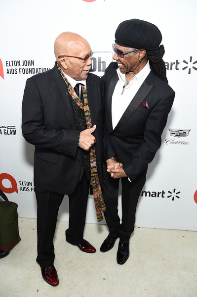 28th Annual Elton John AIDS Foundation Academy Awards Viewing Party Sponsored By IMDb, Neuro Drinks And Walmart - Red Carpet [suit,fashion,formal wear,event,tuxedo,carpet,white-collar worker,red carpet,fashion accessory,tie,neuro drinks,elton john aids foundation academy awards viewing party,nile rodgers,quincy jones,l-r,west hollywood,california,walmart,imdb,red carpet,elton john,bernie taupin,elton john aids foundation,photograph,livingly media,academy awards viewing party,image,elton john aids foundation academy award party,celebrity,academy awards]