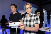 Chord Overstreet (R) and guest attend the Nintendo Hosts Wii U Experience In Los Angeles on September 20, 2012 in Los Angeles, California.