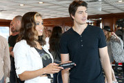 Actors Ciara Renee (L) and Brandon Routh attend The Nintendo Lounge on the TV Guide Magazine yacht during Comic-Con International 2015 on July 11, 2015 in San Diego, California.