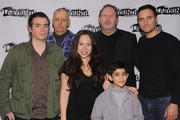 """Kevin Corrigan, Bob Glaudini, Rosal Colon, director Mark Wing-Davey, Samuel Mercedes and Dominic Fumusa attend the """"Ninth and Joanie"""" cast photocall at The Bank Street Theater on March 16, 2012 in New York City."""