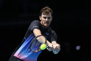 Jamie Murray of Great Britain plays a backhand shot in his doubles semi finals match against Mike Bryan and Jack Sock of The United States during Day Seven of the Nitto ATP Finals at The O2 Arena on November 17, 2018 in London, England.