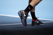 A detailed view of the shoes of Roger Federer of Switzerland during his singles match against Novak Djokovic of Serbia during Day Five of the Nitto ATP World Tour Finals at The O2 Arena on November 14, 2019 in London, England.