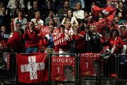 Fans show their support for Roger Federer of Switzerland in his singles match against Novak Djokovic of Serbia during Day Five of the Nitto ATP World Tour Finals at The O2 Arena on November 14, 2019 in London, England.