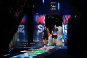 Bruno Soares of South Africa and Jamie Murray of Great Britain walk onto the court ahead of their match against Michael Venus of New Zealand and Raven Klaasen of South Africa during Day One of the Nitto ATP World Tour Finals at The O2 Arena on November 11, 2018 in London, England.
