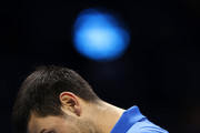 Novak Djokovic of Serbia looks dejected during his singles semi final match against Dominic Thiem of Austria during day seven of the Nitto ATP World Tour Finals at The O2 Arena on November 21, 2020 in London, England.