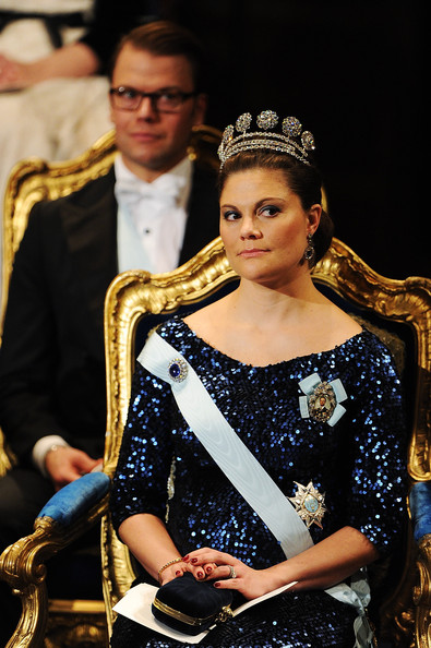Crown Princess Victoria of Sweden  attends the Nobel Foundation Prize Awards Ceremony 2011 at the Concert Hall on December 10, 2011 in Stockholm, Sweden.