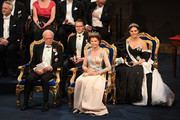 (L-R) King Carl XVI Gustaf of Sweden, Prince Daniel of Sweden, Queen Silvia of Sweden and Crown Princess Victoria of Sweden attend the Nobel Prize Awards Ceremony at Concert Hall on December 10, 2019 in Stockholm, Sweden.