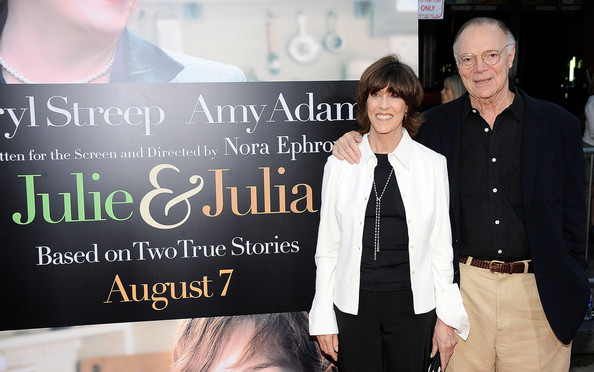 "Nora Ephron Director Nora Ephron (L) and her husband Nicholas Pileggi arrive at the special screening of Columbia Pictures' ""Julie & Julia"" held at Mann Village Theatre on July 28, 2009 in Westwood, California."