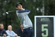Thomas Aiken of South Africa tees off on the 5th hole during day three of the Nordea Masters at Hills Golf Club on August 18, 2018 in Gothenburg, Sweden.