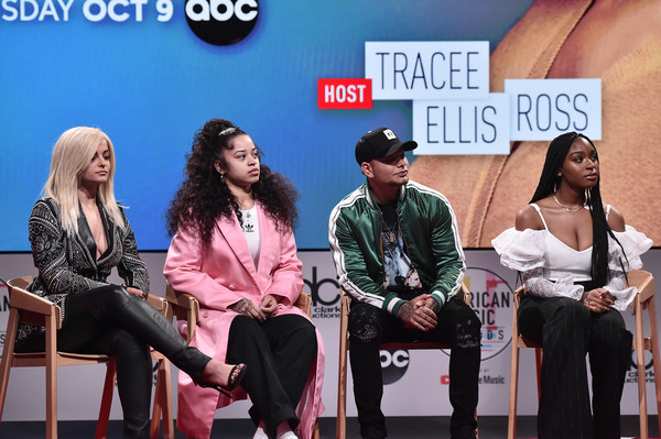 '2018 American Music Awards' Nominations Announcement [nominations announcement,fashion,event,performance,talent show,conversation,sitting,news conference,stage,fashion design,performing arts,bebe rexha,ella mai,kane brown,american music awards,normani,youtube space la,los angeles,california]