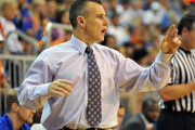 Coach Billy Donovan of the Florida Gators directs play against the North Florida Ospreys November 8, 2013 at the Stephen C. O'Connell Center in Gainesville, Florida. Florida won 77 - 69.