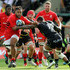 Billy Vunipola of Saracens moves past Courtney Lawes during the Gallagher Premiership Rugby match between Northampton Saints and Saracens at Franklin's Gardens on September 15, 2018 in Northampton, United Kingdom.