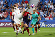 Jill Scott of England looks to control the ball during the 2019 FIFA Women's World Cup France Quarter Final match between Norway and England at Stade Oceane on June 27, 2019 in Le Havre, France.