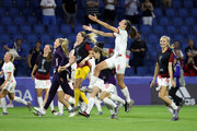 Jill Scott of England celebrates following her sides victory in the 2019 FIFA Women's World Cup France Quarter Final match between Norway and England at Stade Oceane on June 27, 2019 in Le Havre, France.