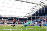 Jill Scott of England scores her team's first goal past Ingrid Hjelmseth of Norway during the 2019 FIFA Women's World Cup France Quarter Final match between Norway and England at Stade Oceane on June 27, 2019 in Le Havre, France.