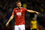 Nicklas Bendtner of Nottingham Forest looks on during the EFL Cup Third Round match between Nottingham Forest and Arsenal at City Ground on September 20, 2016 in Nottingham, England.