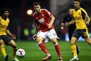 Nicklas Bendtner of Nottingham Forest in action during the EFL Cup Third Round match between Nottingham Forest and Arsenal at City Ground on September 20, 2016 in Nottingham, England.