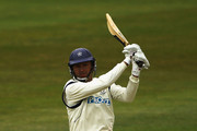 Dominic Cork of Hampshire hits the ball towards the boundary during the  LV County Championship Division One match between Nottinghamshire and Hampshire at Trent Bridge on April 14, 2011 in Nottingham, England.