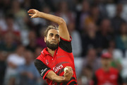 Imran Tahir of Durham bowls during the Vitality Blast match between Nottinghamshire Outlaws and Durham Jets at Trent Bridge on July 17, 2018 in Nottingham, England.