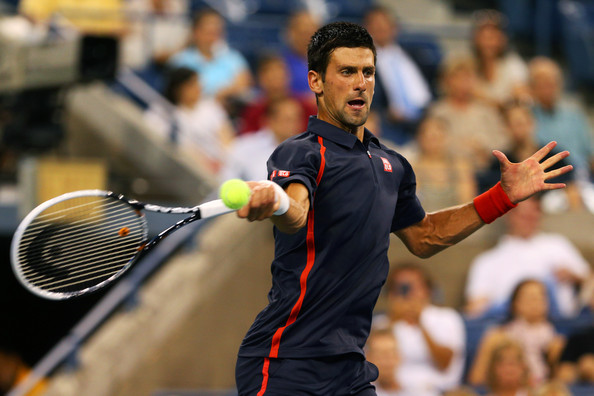 Novak Djokovic Novak Djokovic of Serbia returns a shot against Paolo Lorenzi of Italy  during their men's single first round match on Day Two of the 2012 US Open at USTA Billie Jean King National Tennis Center on August 28, 2012 in the Flushing neigborhood of the Queens borough of New York City.