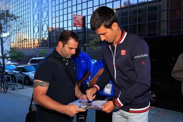 2015 US Open Champion Novak Djokovic New York City Trophy Tour [event,recreation,team,competition event,novak djokovic,fan,champion,autograph,new york city,studio,serbia,us open,trophy tour,us open mens singles]