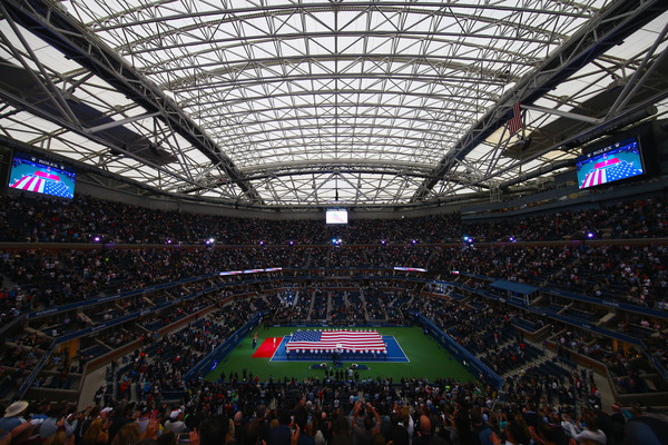 Celebrities Attend The 2018 US Open Tennis Championships - Day 14 [flag,sport venue,arena,fan,stadium,product,crowd,field house,audience,music venue,competition event,celebrities,members,national,anthem,american,military,us open tennis championships,match,start]