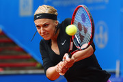 Sabine Lisicki of Germany returns the ball to Laura Arruabarrena of Spain during day four of the Nuernberger Versicherungscup 2016 on May 17, 2016 in Nuremberg, Germany.