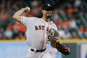Charlie Morton #50 of the Houston Astros pitches in the first inning against the Oakland Athletics at Minute Maid Park on August 28, 2018 in Houston, Texas.