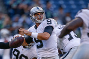 Quarterback Christian Ponder #9 of the Oakland Raiders warms up prior to the game against the Seattle Seahawks at CenturyLink Field on September 3, 2015 in Seattle, Washington.