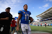 Philip Rivers #17 of the Los Angeles Chargers walks off the field after defeating the Oakland Raiders 26-10 in a game at StubHub Center on October 7, 2018 in Carson, California.