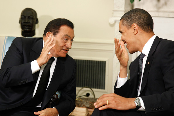 Barack Obama U.S. President Barak Obama (R) talks with Egyptian President Hosni Mubarak in the Oval Office at the White House August 18, 2009 in Washington, DC. The two leaders discussed a range of issues including Middle East peace.