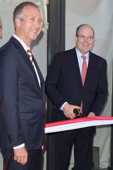 Prince Albert II of Monaco officially opens the AS Monaco football club flagship store on July 31, 2014 in Monaco, Monaco.