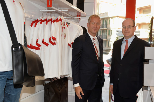 Vadim Vassilyev and Prince Albert II of Monaco attend the AS Monaco football club flagship store opening on July 31, 2014 in Monaco, Monaco.