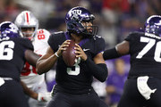 Shawn Robinson #3 of the TCU Horned Frogs throws against the Ohio State Buckeyes in the third quarter during The AdvoCare Showdown at AT&T Stadium on September 15, 2018 in Arlington, Texas.