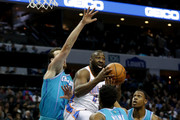 Raymond Felton #2 of the Oklahoma City Thunder drives to the basket against teammates Frank Kaminsky #44 and Malik Monk #1 of the Charlotte Hornets during their game at Spectrum Center on January 13, 2018 in Charlotte, North Carolina.  NOTE TO USER: User expressly acknowledges and agrees that, by downloading and or using this photograph, User is consenting to the terms and conditions of the Getty Images License Agreement.