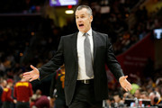 Head coach Billy Donovan of the Oklahoma City Thunder argues a call during the first quarter of the game against the Cleveland Cavaliers at Quicken Loans Arena on January 20, 2018 in Cleveland, Ohio. NOTE TO USER: User expressly acknowledges and agrees that, by downloading and or using this photograph, User is consenting to the terms and conditions of the Getty Images License Agreement.