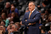 Head coach Billy Donovan of the Oklahoma City Thunder watches his team play the Denver Nuggets at the Pepsi Center on October 10, 2017 in Denver, Colorado.