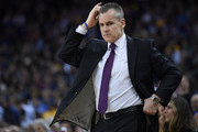 Head coach Billy Donovan of the Oklahoma City Thunder reacts to the play on the court during the second half of their NBA basketball game against the Golden State Warriors at ORACLE Arena on February 6, 2018 in Oakland, California. NOTE TO USER: User expressly acknowledges and agrees that, by downloading and or using this photograph, User is consenting to the terms and conditions of the Getty Images License Agreement.