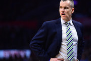 Billy Donovan of the Oklahoma City Thunder reacts to play during the game against the LA Clippers at Staples Center on January 16, 2017 in Los Angeles, California.  NOTE TO USER: User expressly acknowledges and agrees that, by downloading and or using this photograph, User is consenting to the terms and conditions of the Getty Images License Agreement.