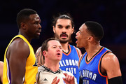 Russell Westbrook #0 of the Oklahoma City Thunder and Luol Deng #9 of the Los Angeles Lakers argue after a Westbrook foul during the first half at Staples Center on November 22, 2016 in Los Angeles, California.  NOTE TO USER: User expressly acknowledges and agrees that, by downloading and or using this photograph, User is consenting to the terms and conditions of the Getty Images License Agreement.