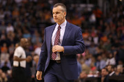Head coach Billy Donovan of the Oklahoma City Thunder reacts during the first half of the NBA game against the Oklahoma City Thunder at Talking Stick Resort Arena on March 3, 2017 in Phoenix, Arizona. NOTE TO USER: User expressly acknowledges and agrees that, by downloading and or using this photograph, User is consenting to the terms and conditions of the Getty Images License Agreement.