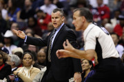 Head coach Billy Donovan of the Oklahoma City Thunder argues a call with an official in the first half against the Washington Wizards at Verizon Center on February 13, 2017 in Washington, DC.  NOTE TO USER: User expressly acknowledges and agrees that, by downloading and or using this photograph, User is consenting to the terms and conditions of the Getty Images License Agreement.