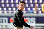 Head coach Mike Gundy of the Oklahoma State Cowboys prepares his team to take on the TCU Horned Frogs at Amon G. Carter Stadium on November 19, 2016 in Fort Worth, Texas.