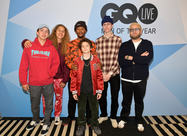 GQ Live - The World Of Jonah Hill With The Cast Of 'Mid90s' [the world of jonah hill,social group,team,event,leisure,flooring,crew,games,gio galicia,jonah hill,lucas hedges,sunny suljic,na-kel smith,olan prenatt,gq live,cast,neuehouse los angeles]