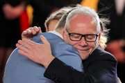 """General Delegate Thierry Fremaux welcomes Nicolas Winding Refn at the screening of """"Too Old To Die Young"""" during the 72nd annual Cannes Film Festival on May 17, 2019 in Cannes, France."""