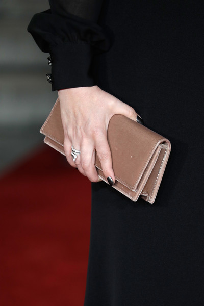 'Murder on the Orient Express' World Premiere - Red Carpet Arrivals [murder on the orient express,wallet,fashion,leather,brown,beige,bag,hand,handbag,haute couture,fashion accessory,red carpet arrivals,olivia coleman,bag detail,england,london,royal albert hall,world premiere]