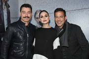 Alex Badia, Olivia Palermo and Dan Ragone pose at the Olivia Palermo Collection presentation during New York Fashion Week: The Shows on February 12, 2020 in New York City.